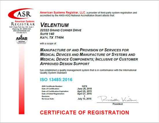 ISO 13485:2016 Certificate of Registration